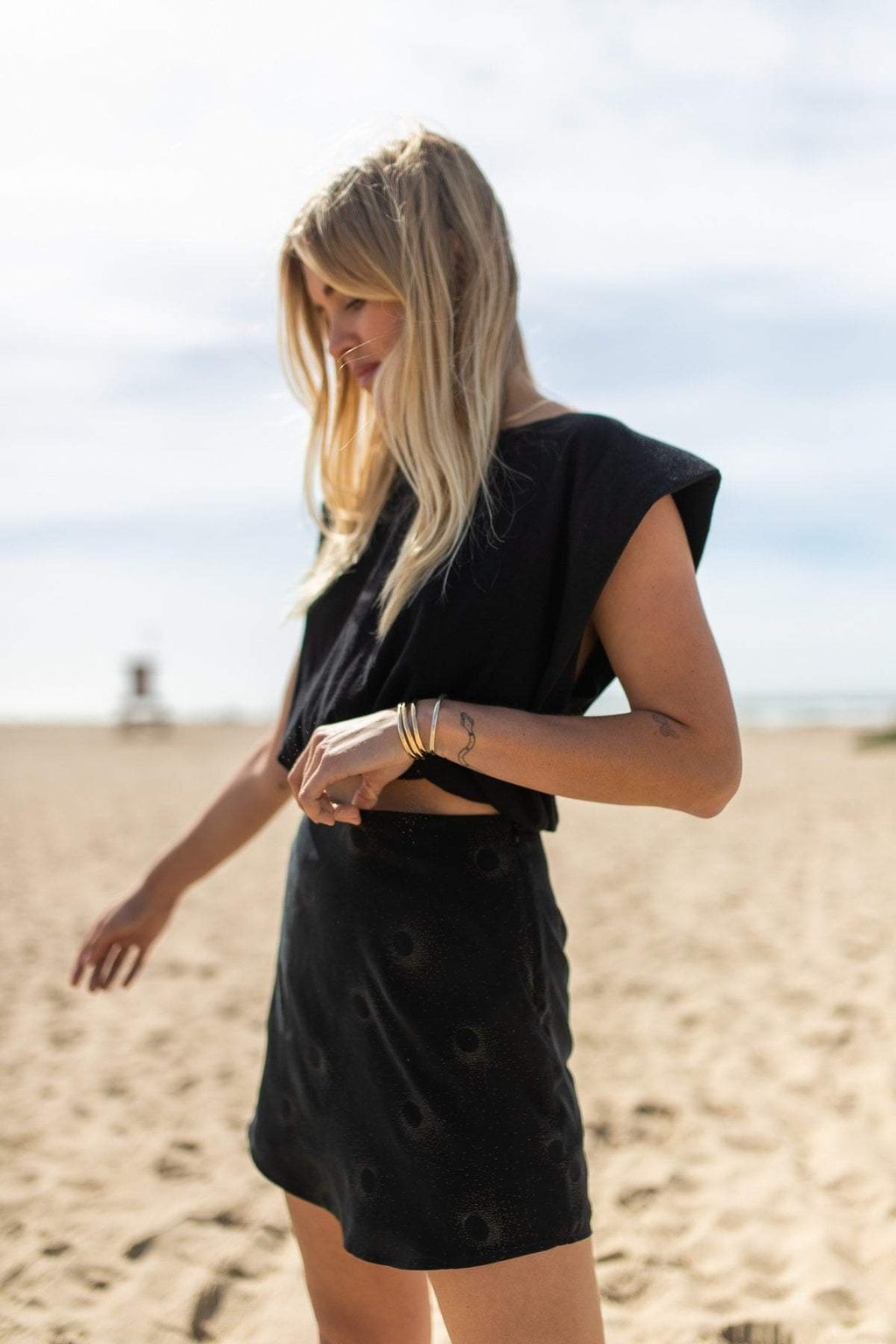 STILLWATER | Point Lobos Silky Mini Skirt - Black
