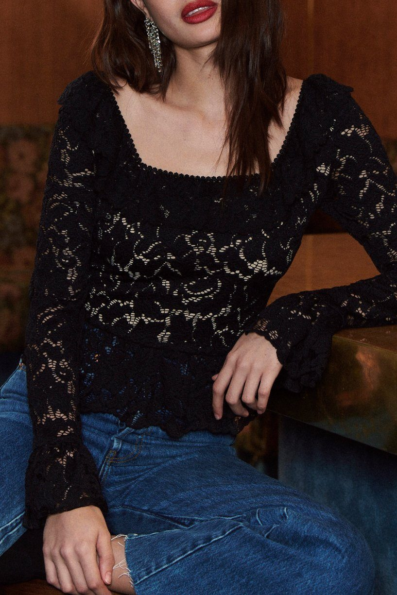 SAYLOR | Aspen Lace Top - Black