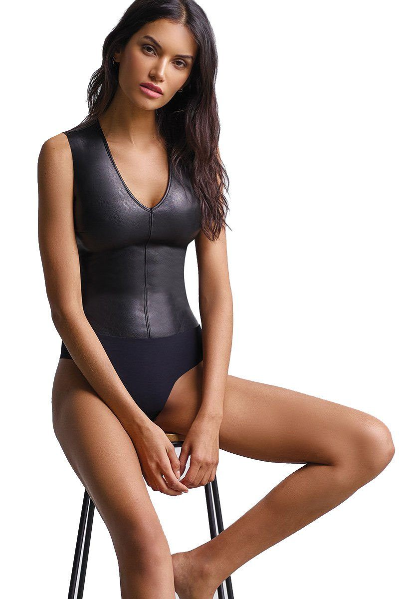 COMMANDO | Deep V Faux Leather Bodysuit