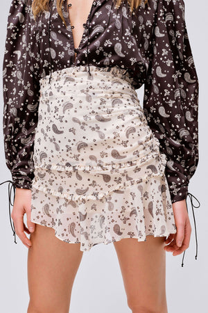 FOR LOVE & LEMONS | Paisley Mini Skirt - Sand