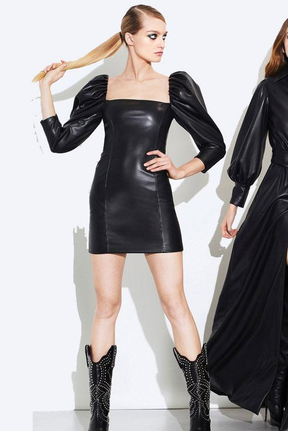 ALICE + OLIVIA | Frances Vegan Leather Mini Dress
