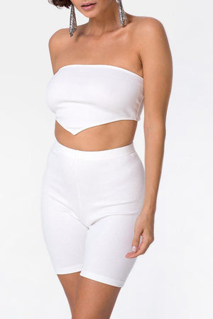 MOTEL | Ribbed Bike Short - White