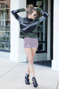 High Tide Stripe Shorts - Black/White