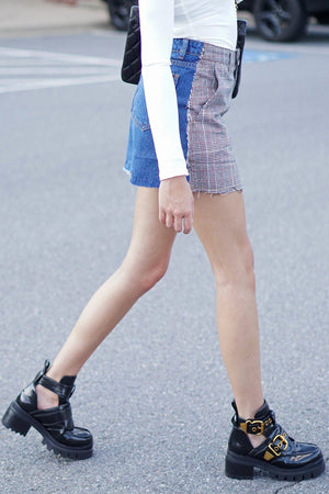 Got Plans Later Mini Skirt - Plaid + Denim