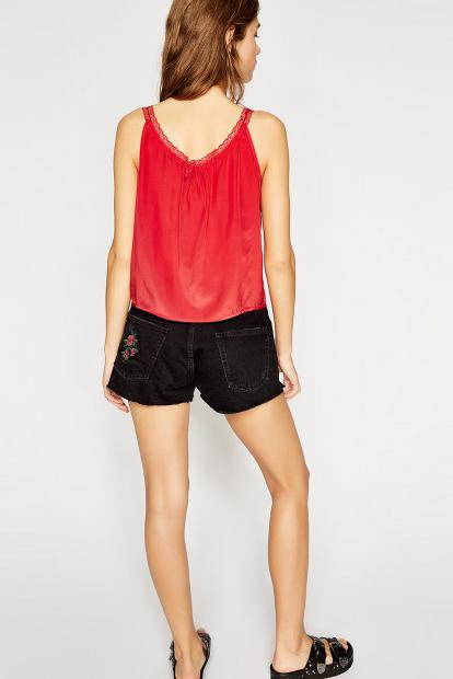 THE KOOPLES | Silk Lace Cami Top - Red