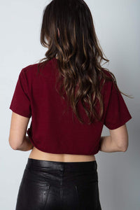STILLWATER | Boyfriend Crop Tee - Deep Red