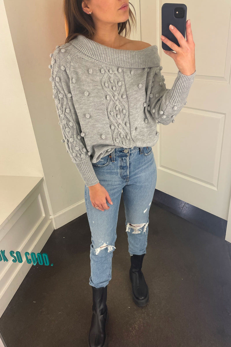 Laying Low Shoulder Sweater - Grey