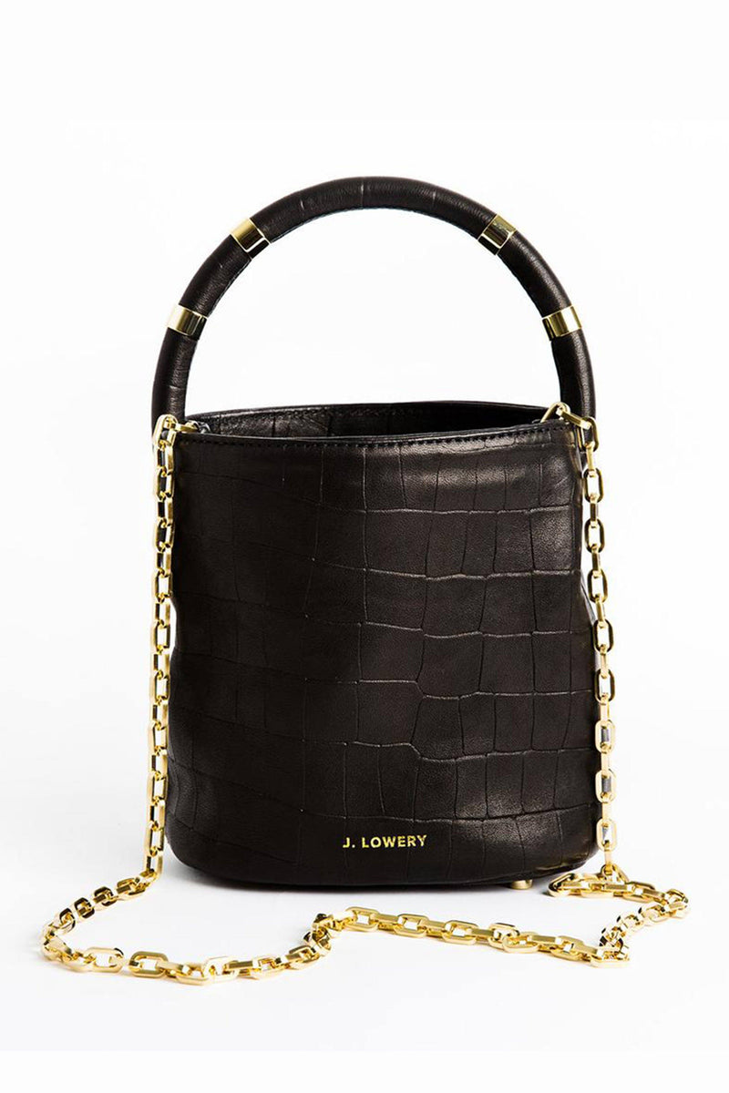 J. LOWERY | Max Mini Bucket Bag - Black Croc