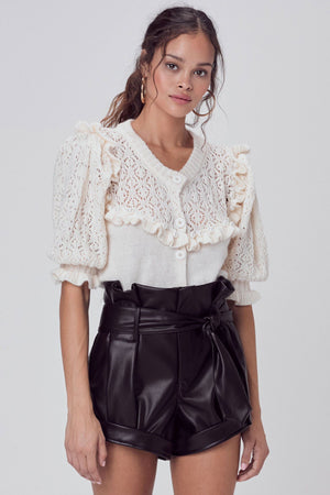 FOR LOVE & LEMONS | Pearl Button Up Sweater - Ivory
