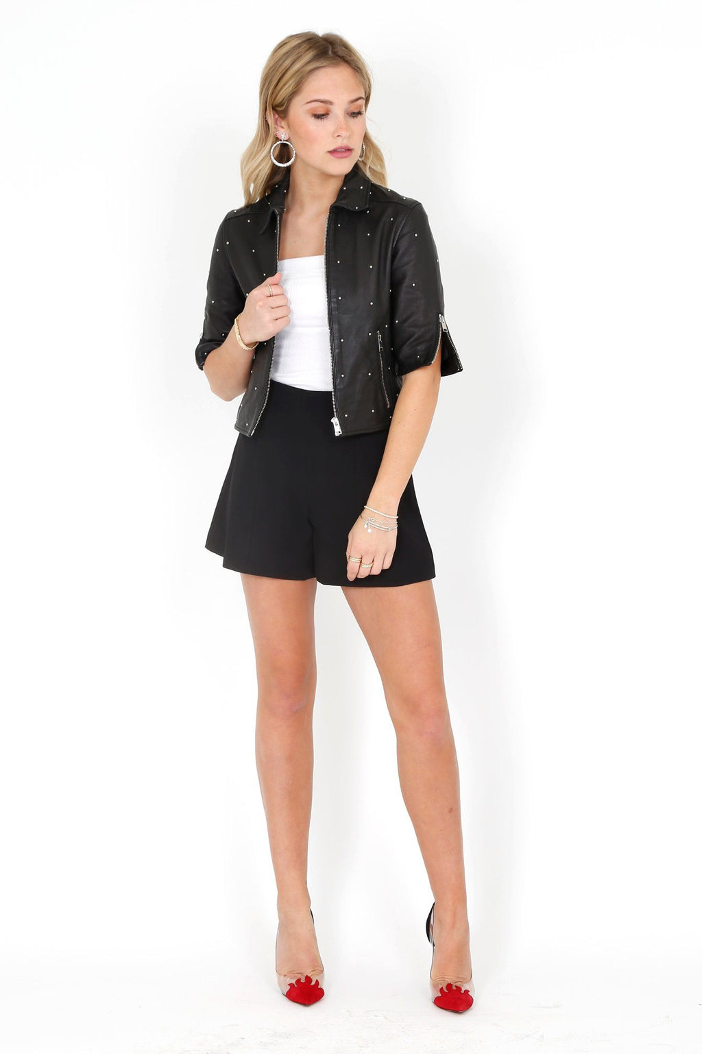 ALICE + OLIVIA | Keira High Waist Flared Shorts - Black