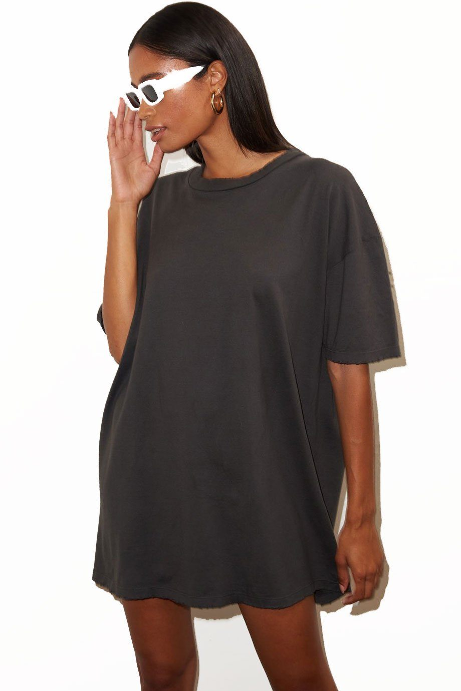 LNA | Oversized T-Shirt Dress - Pirate Black