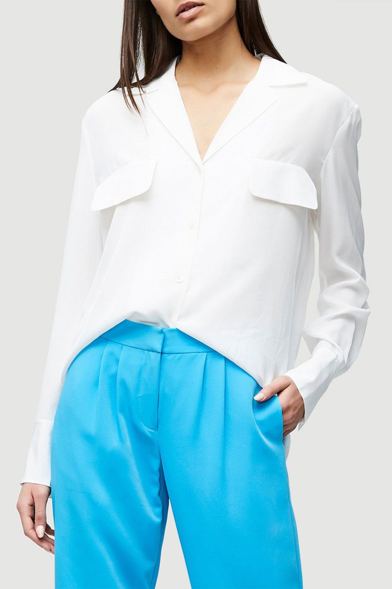 FRAME | Pocket Silk Blouse - Blanc