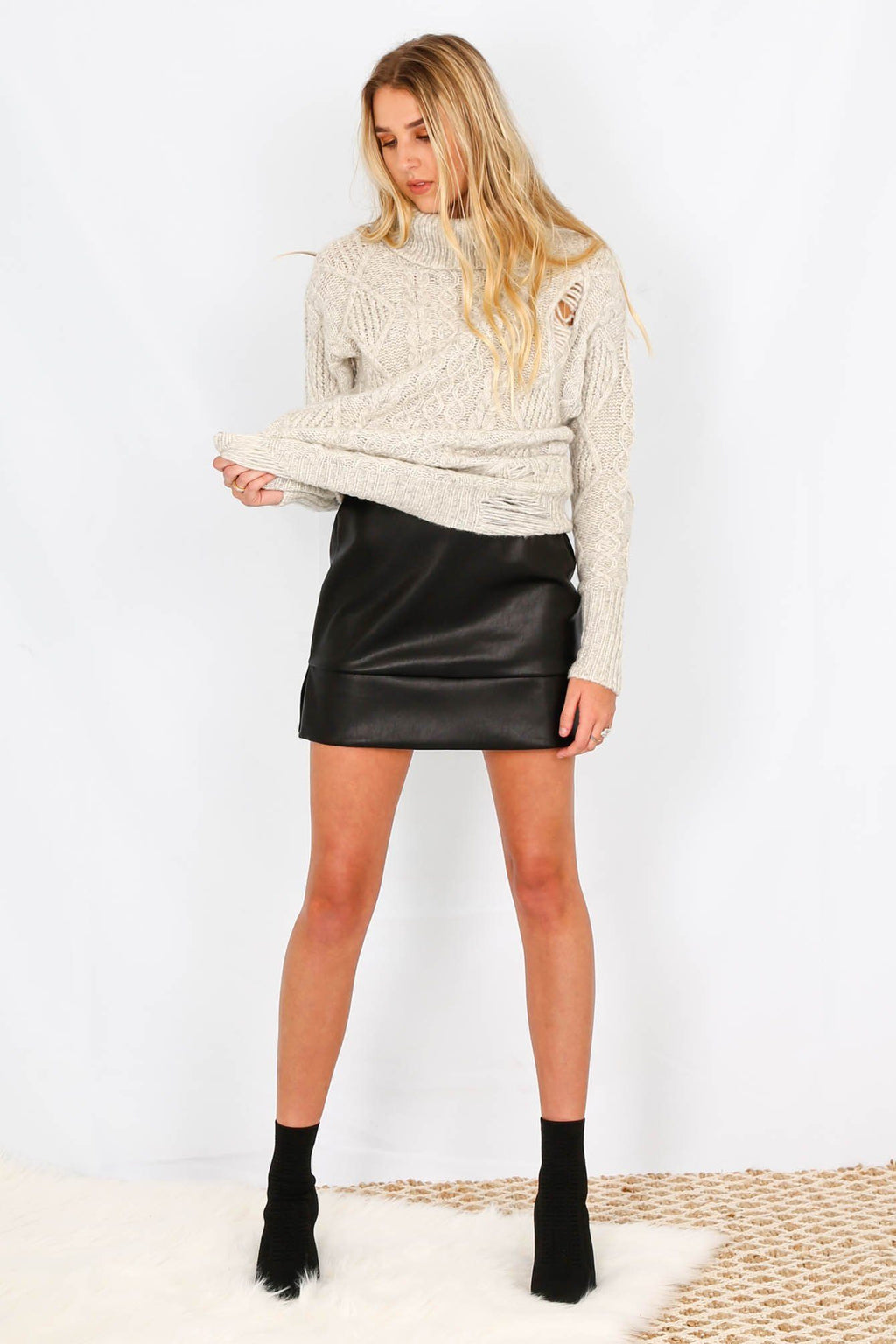 LINE + DOT | Stowe Leather Mini Skirt - Black