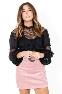 FOR LOVE & LEMONS | Carson Mini Skirt - Blush Corduroy
