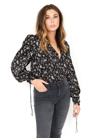 FOR LOVE & LEMONS | Paisley Blouse - Black