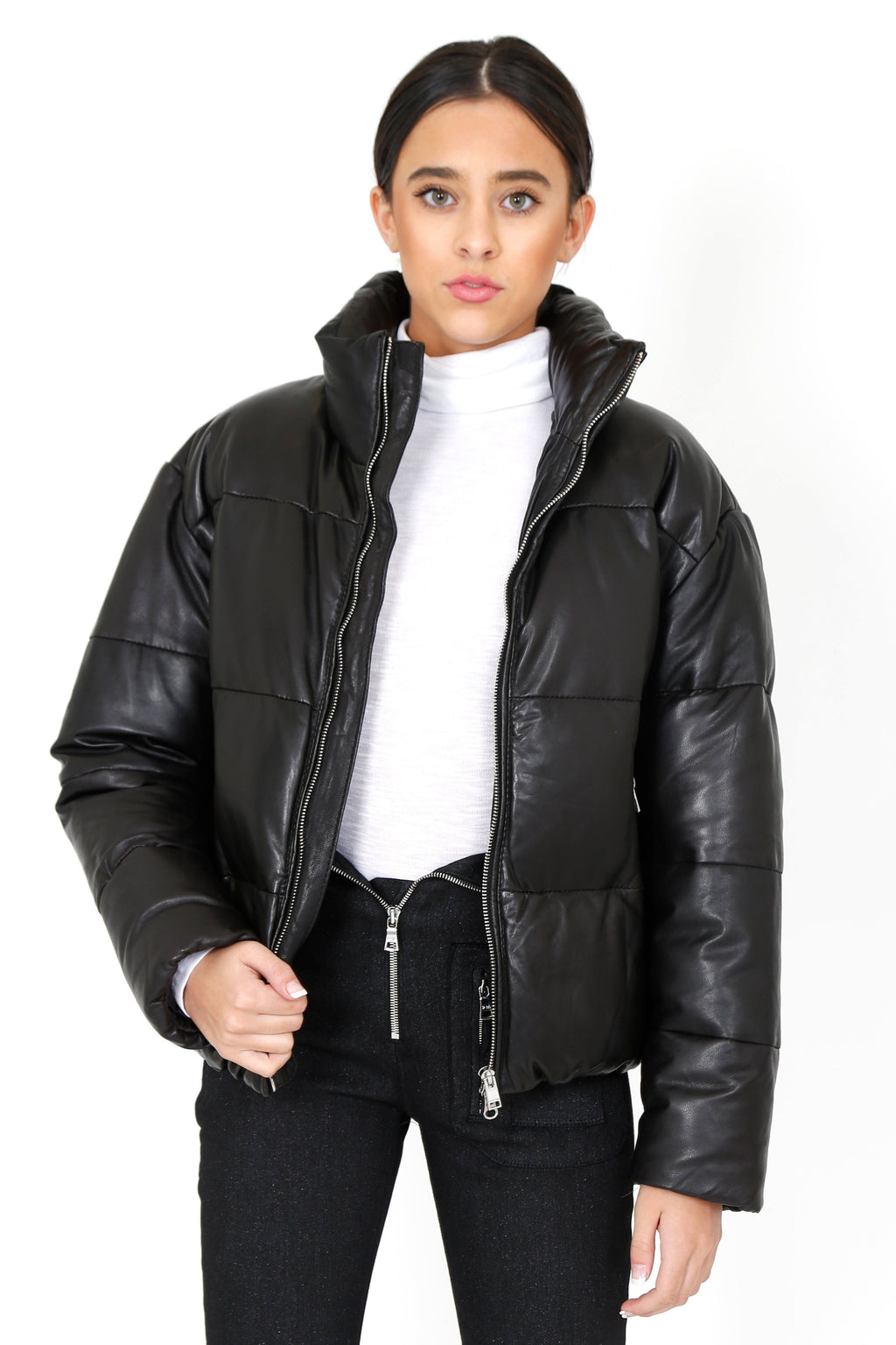 LAMARQUE | Iris Leather Puffler Jacket - Black