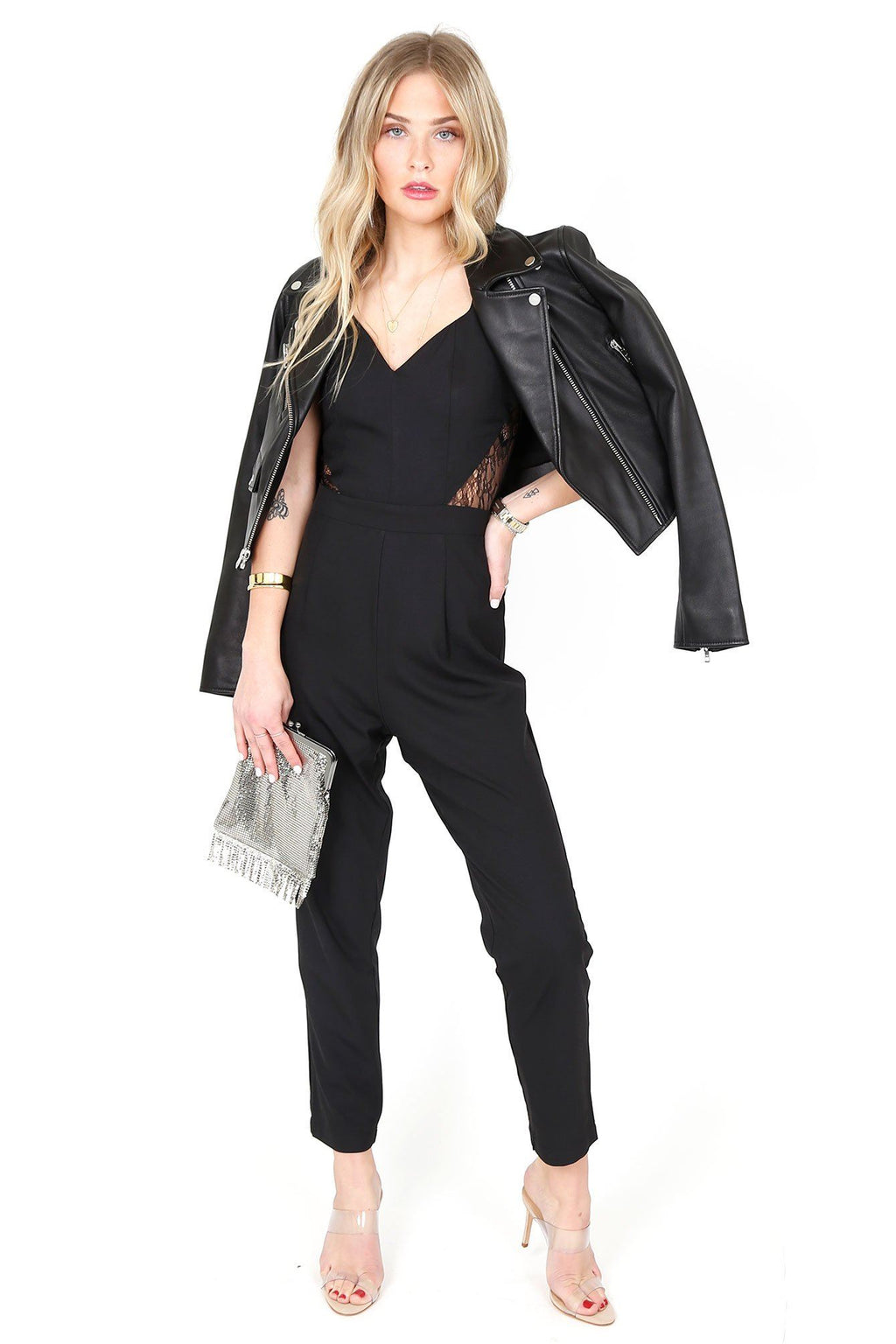 4SI3NNA | Rumi Lace Cutout Jumpsuit - Black