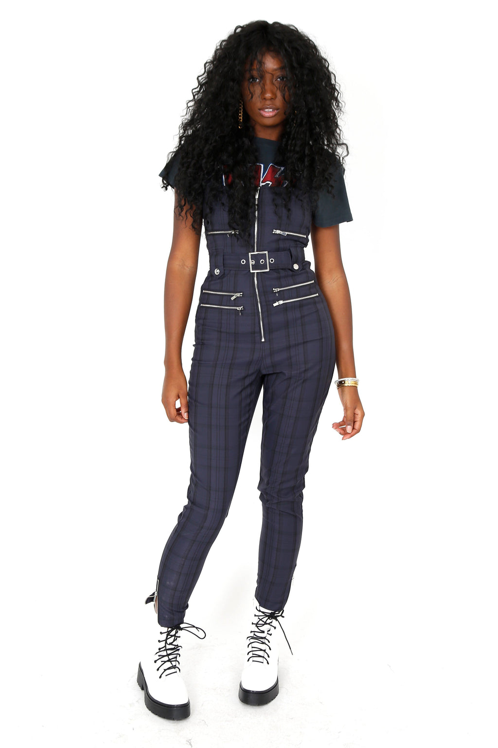 WE WORE WHAT | Plaid Moto Overalls - Navy