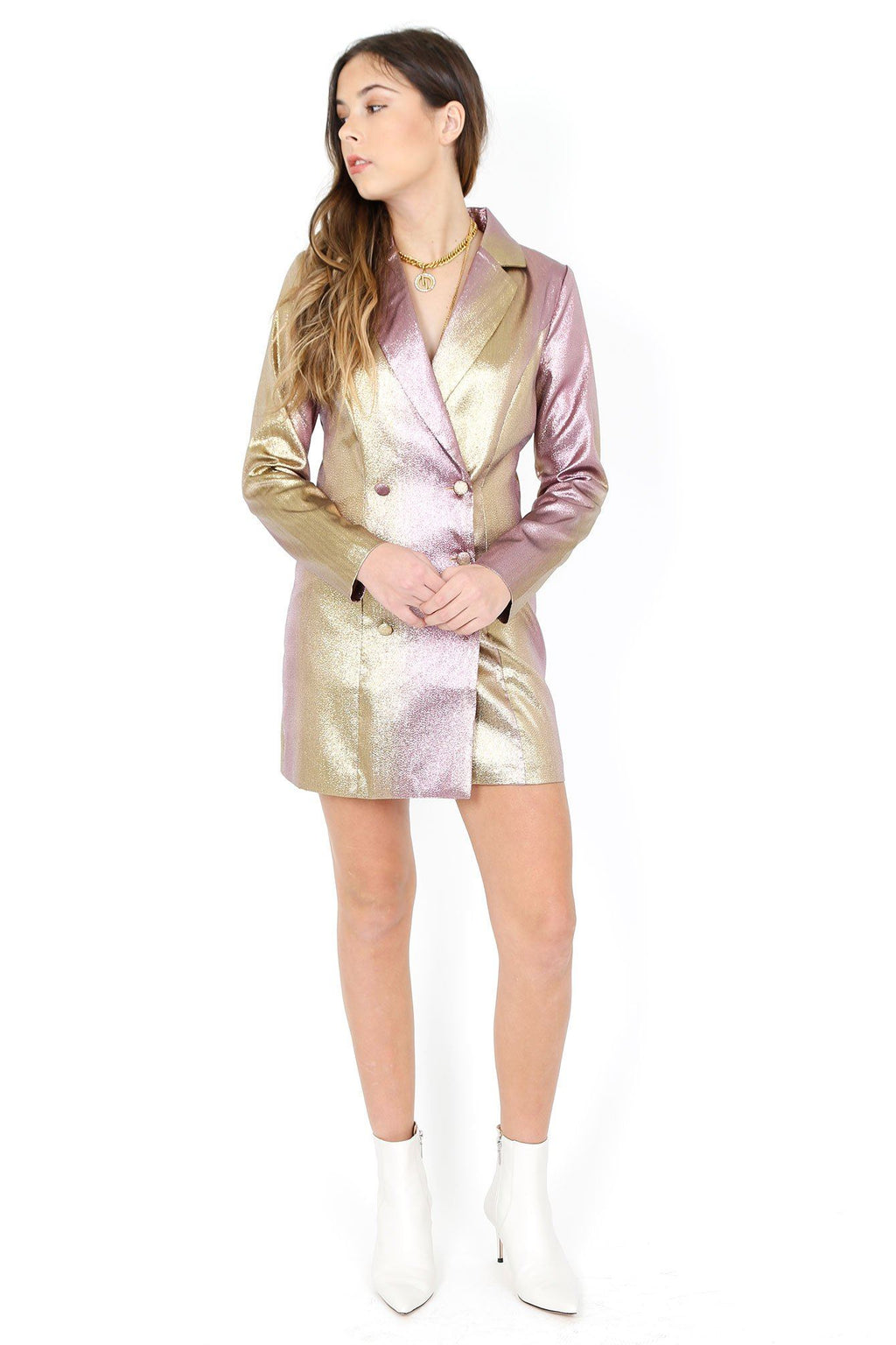 Nobody's Business Blazer Dress - Metallic
