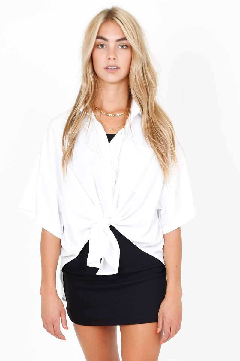 Tied Button Down Shirt - White
