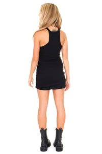 LNA | Ribbed Skinny Racer Mini Dress - Black