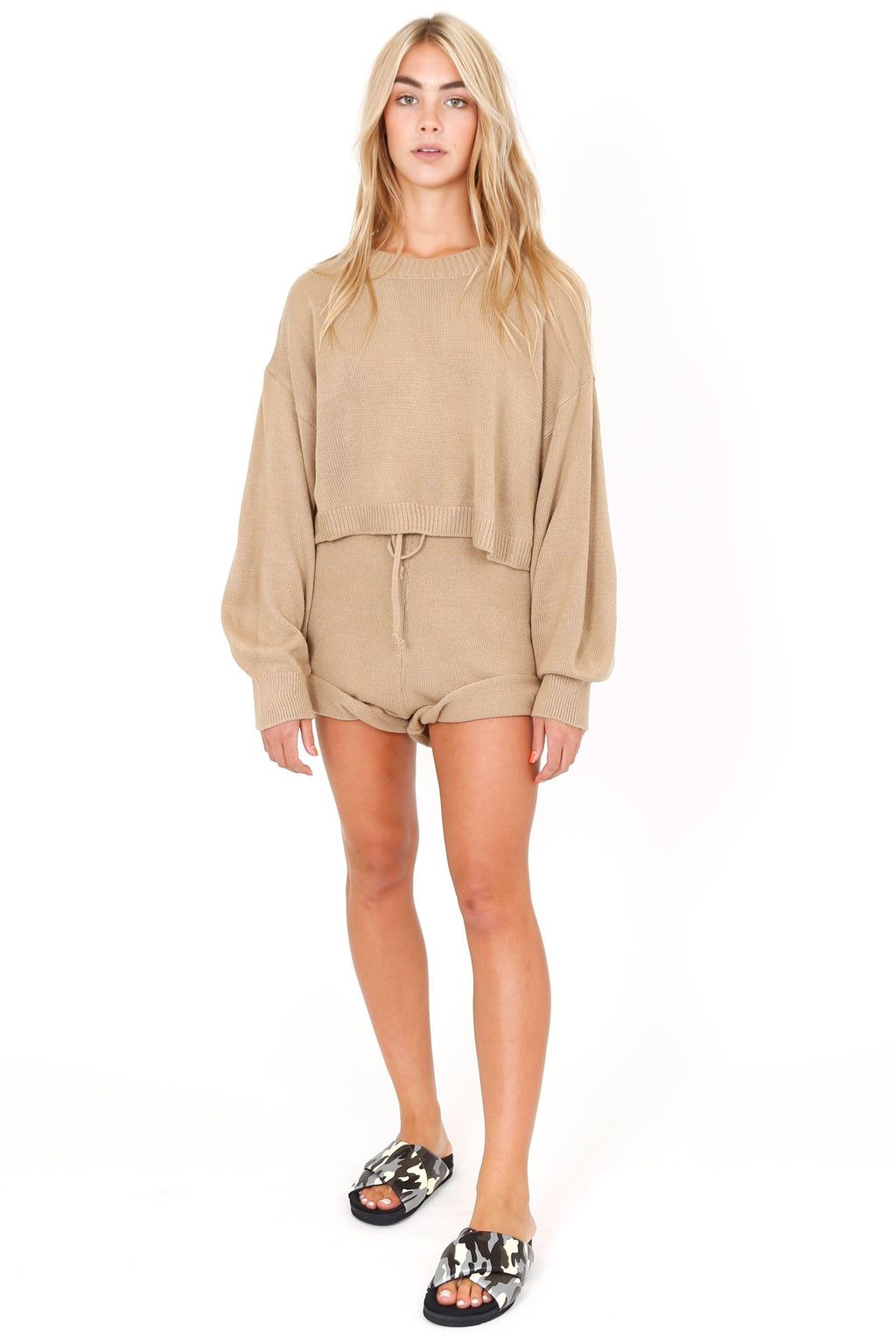 Butter Beige Sweater Shorts
