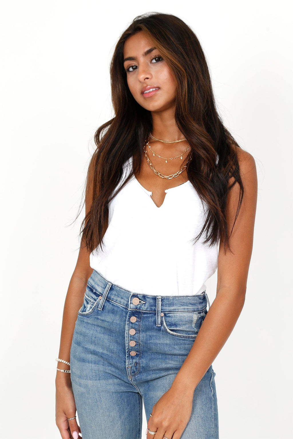 NATION | Safe Raw Sliced Tank - White