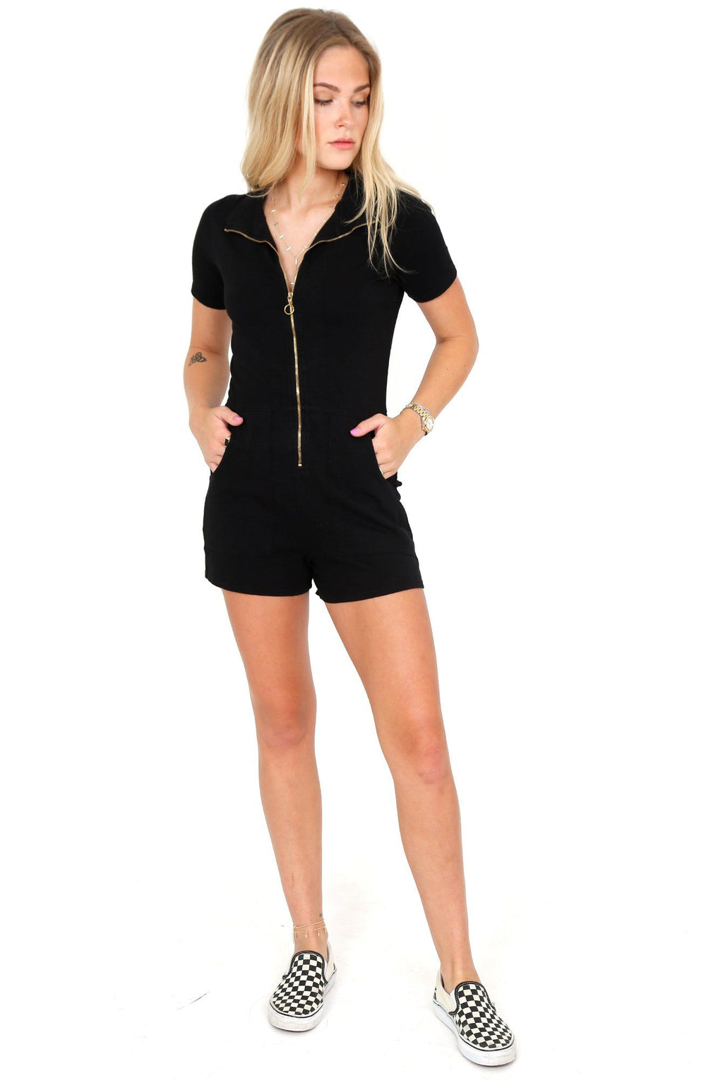 NATION | Lex Zipped Utility Romper - Black