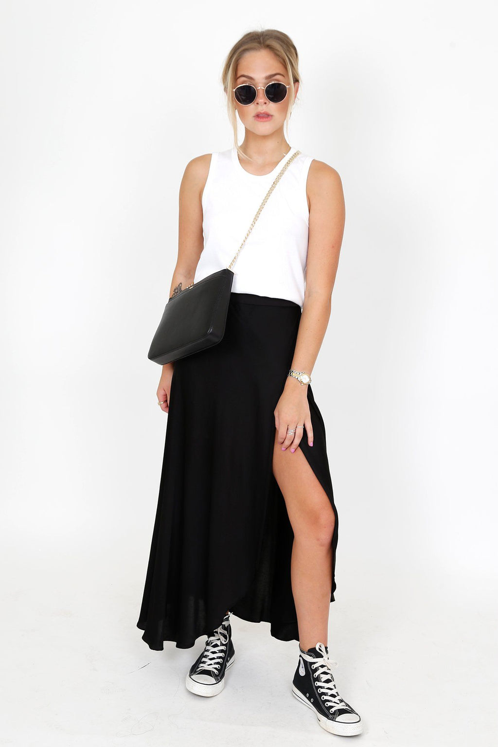 NATION | Giorgia Wrap Skirt - Black