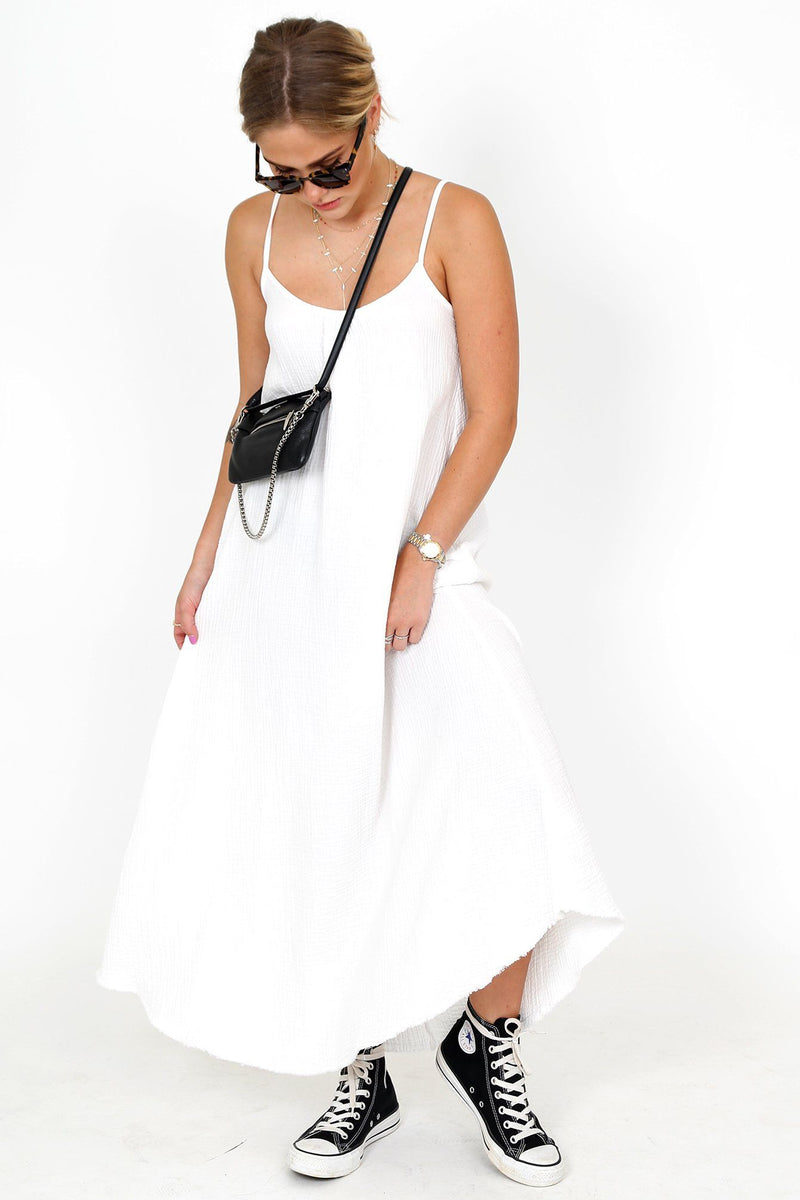 NATION | Lila Scoop Trapeze Slip - White