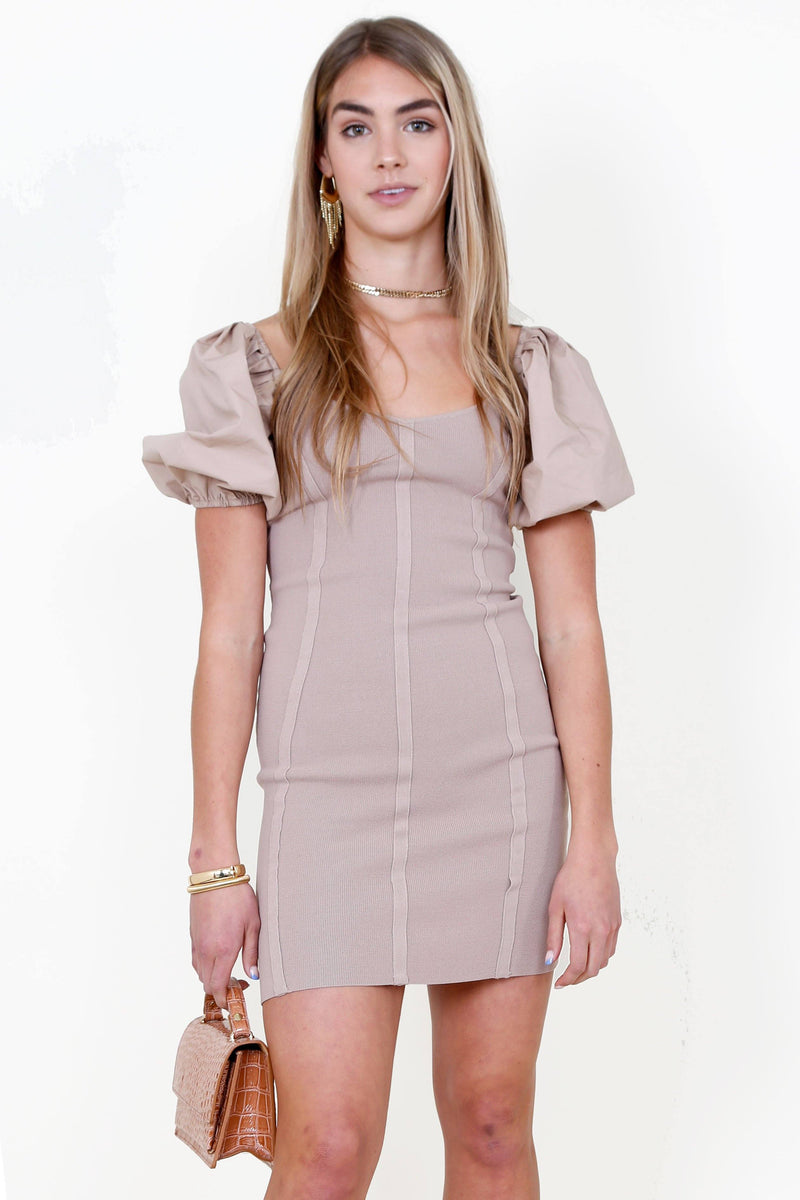 ASTR | Balloon Sleeve Bodycon Dress - Taupe