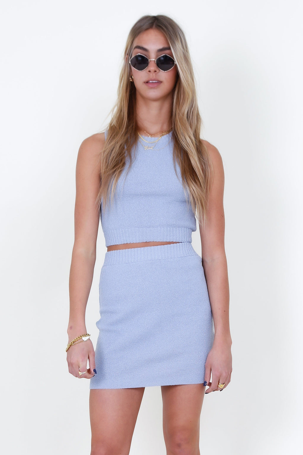 BEC + BRIDGE | Mimi Knit Mini Skirt - Silver Blue