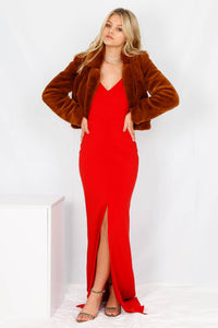 LIKELY | Brooklyn Slit Gown - Scarlet