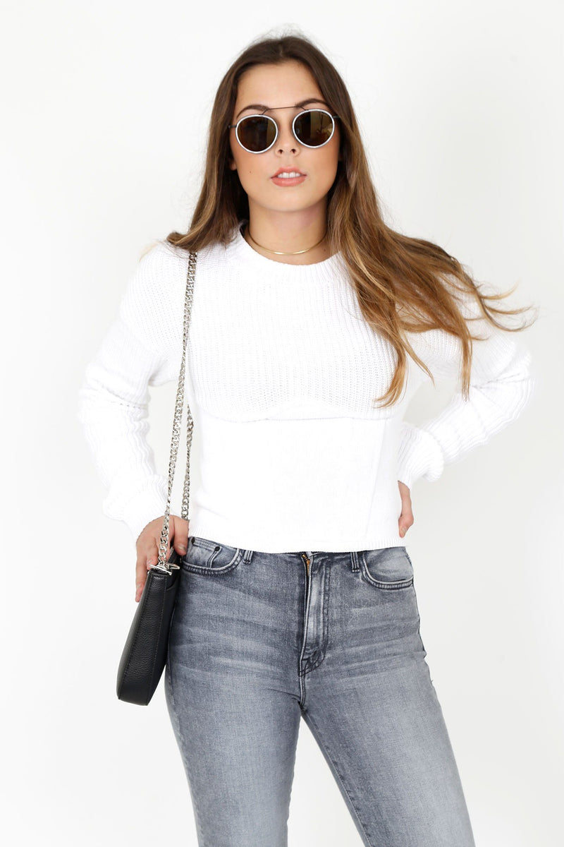 RTA | Fitz Corset Seam Sweater - White