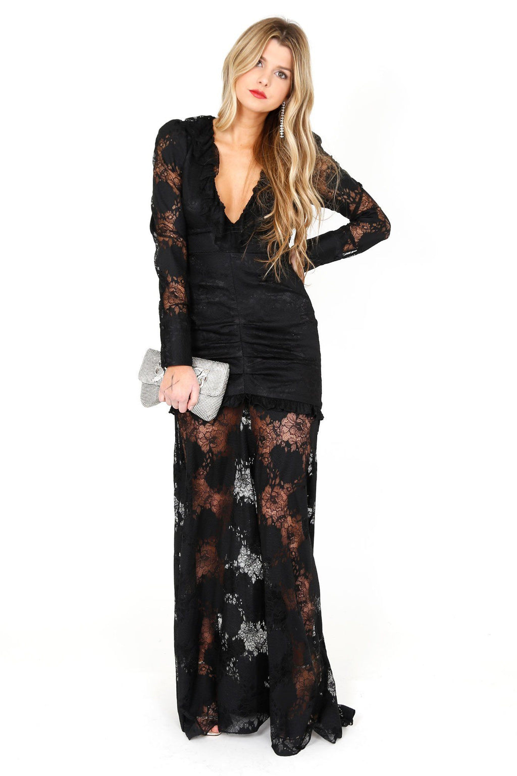 ALEXIS | Lucasta Long Lace Dress - Black