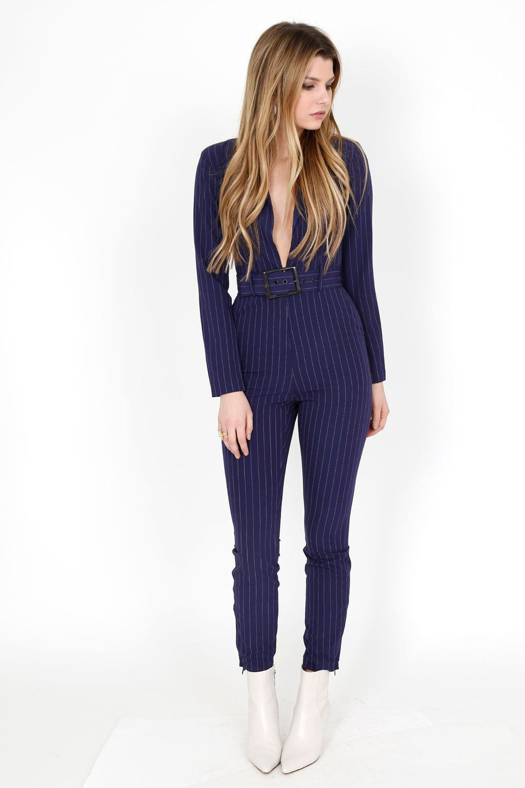 WE WORE WHAT | Blazer Jumpsuit - Navy Pinstripe