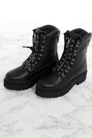 JEFFREY CAMPBELL X SCARLET | Anarcho Combat Boot - Black