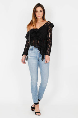 Even Eyelet Top - Black