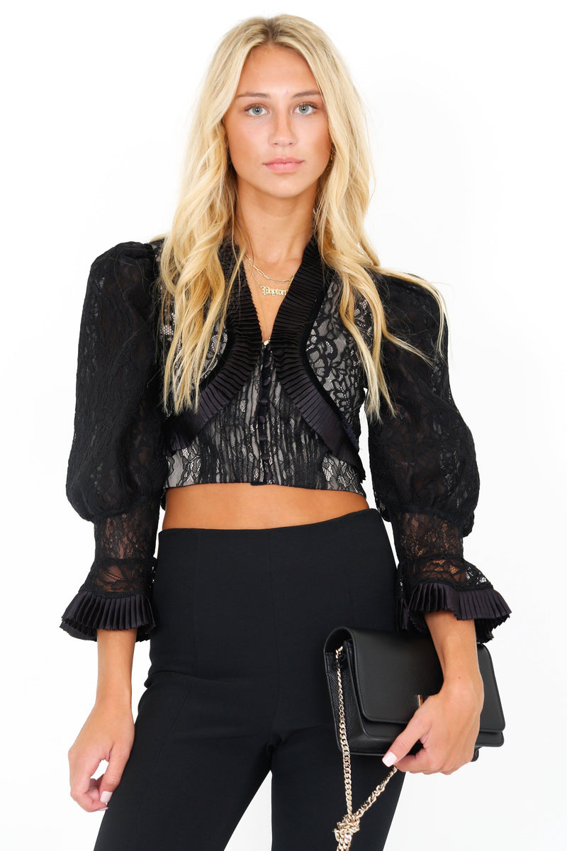 ALICE + OLIVIA | Kingston Pleated Crop Lace Combo Top