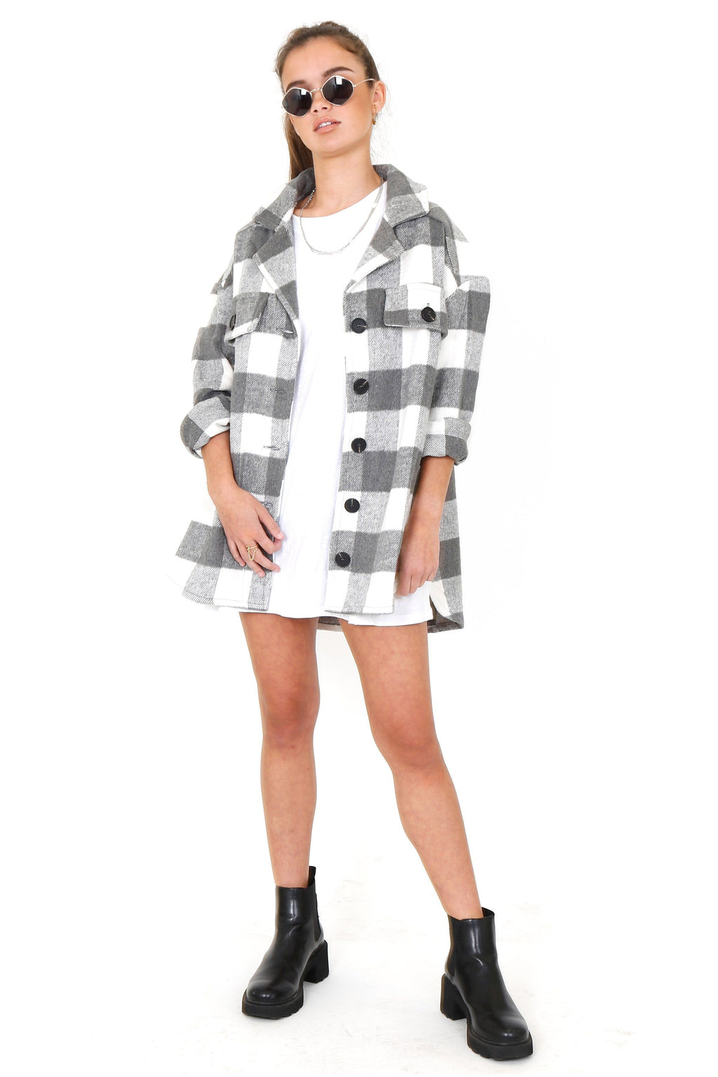 Plaid and Rad Shacket - Black & White
