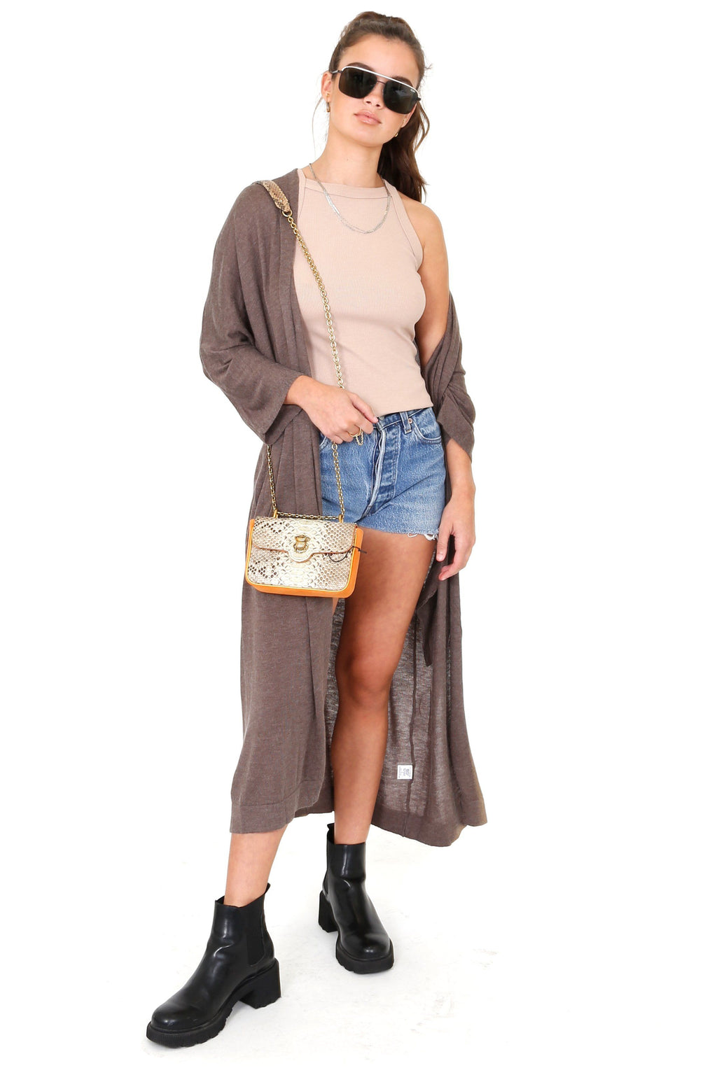 Lounge Around Longline Cardigan - Brown