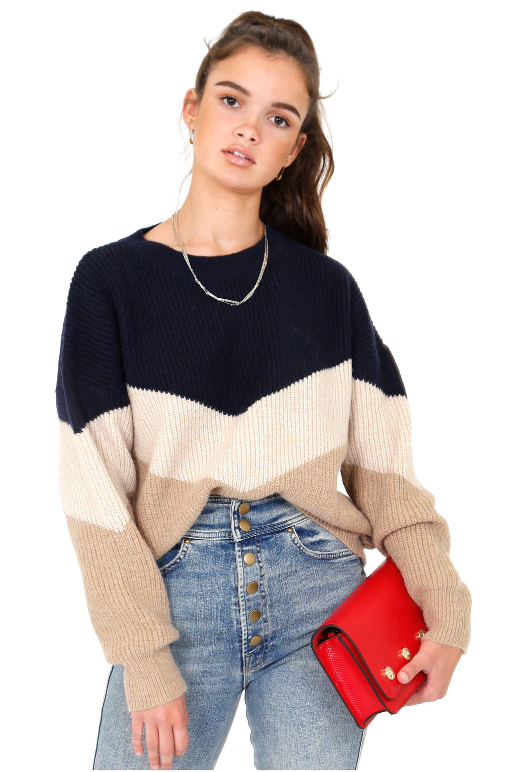 Try Me Tri-color Knit Sweater