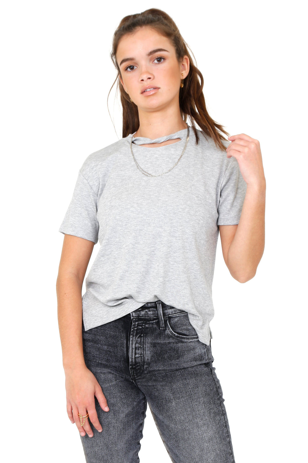 LNA | Sophia Rib Tee - Heather Grey