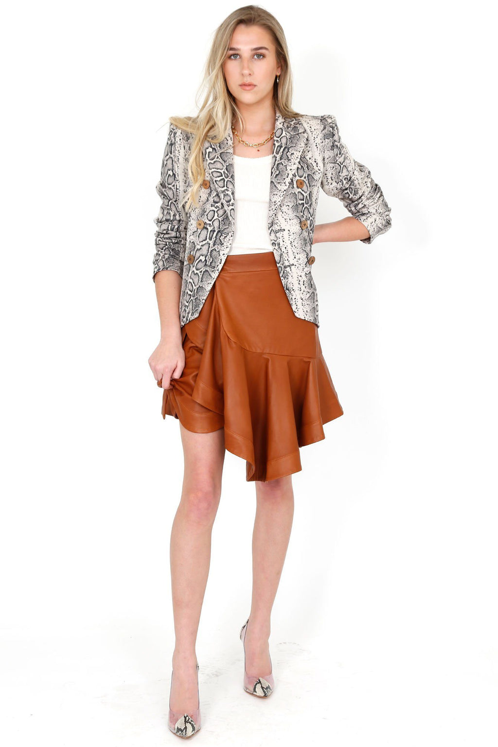 A.L.C. | Amalie Leather Skirt - Spiced Rum