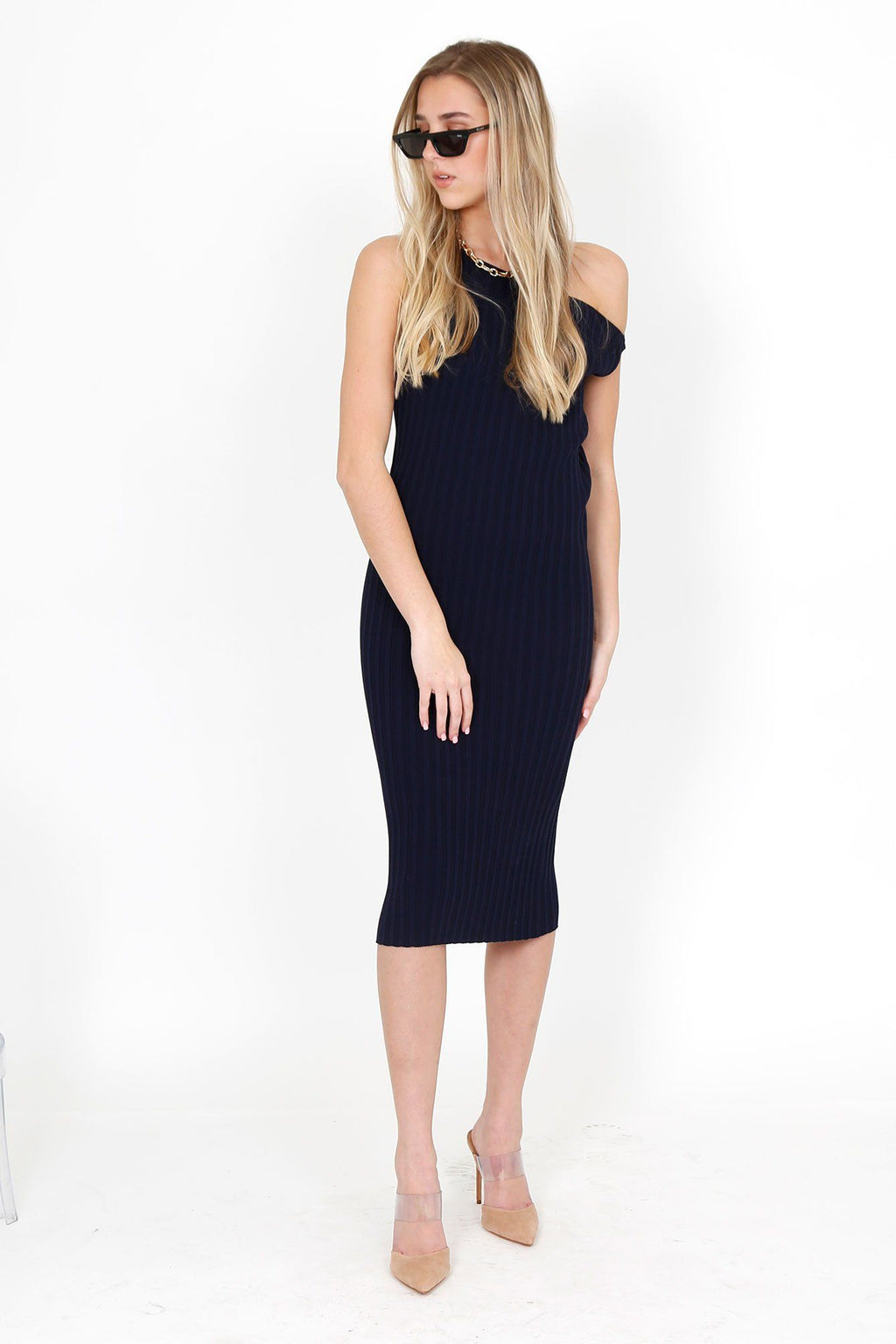 MICHELLE MASON | Asym Rib Dress - Midnight Rib Viscose