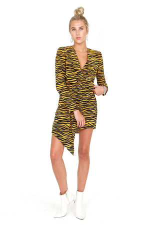 A.L.C. | Jensen Zebra Dress - Black/Carnation