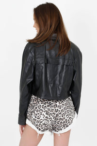 FOR LOVE & LEMONS | Afton Pleather Crop Jacket - Noir