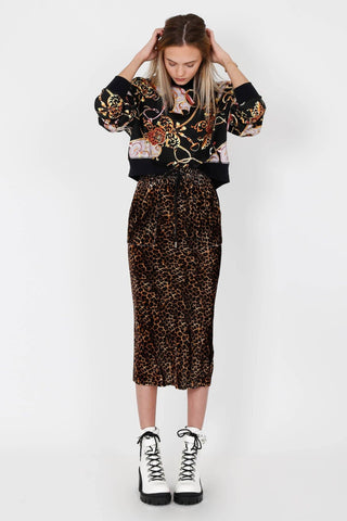 THE KOOPLES | Leopard Velvet Midi Skirt