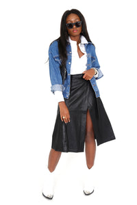 SIX CRISP DAYS | Baila Faux Leather Skirt - Black