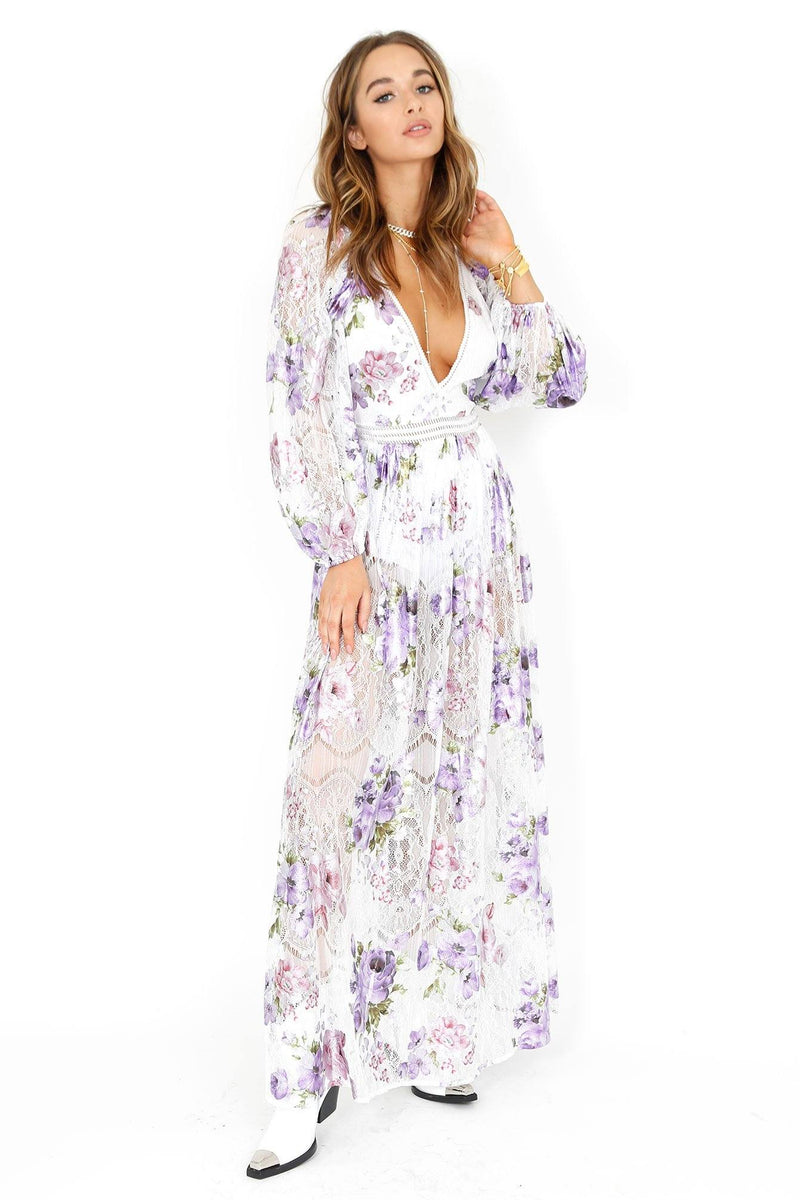 FOR LOVE & LEMONS | Wildflower Foil Lavender Lave Maxi Dress